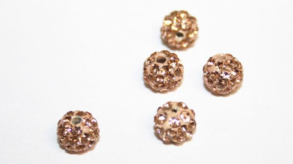 10pcs x 6mm Champagne / Peach Pave Crystal Bead - 2 holes -  PCB06-55-020